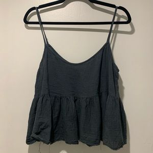 Gray tank with raw edges